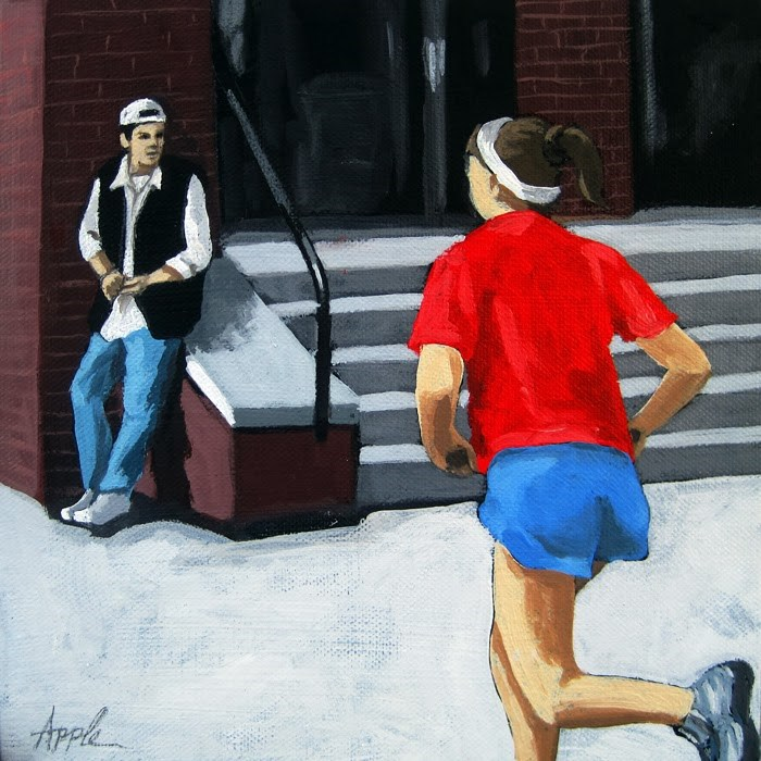 """Red White and Blue Jog - figurative city street"" original fine art by Linda Apple"