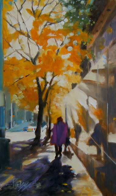 """The Reflecting Wall  Seattle city scenes, oil cityscape"" original fine art by Robin Weiss"