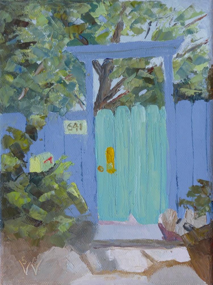 """Blue & Green Entry"" original fine art by Susan Woodward"