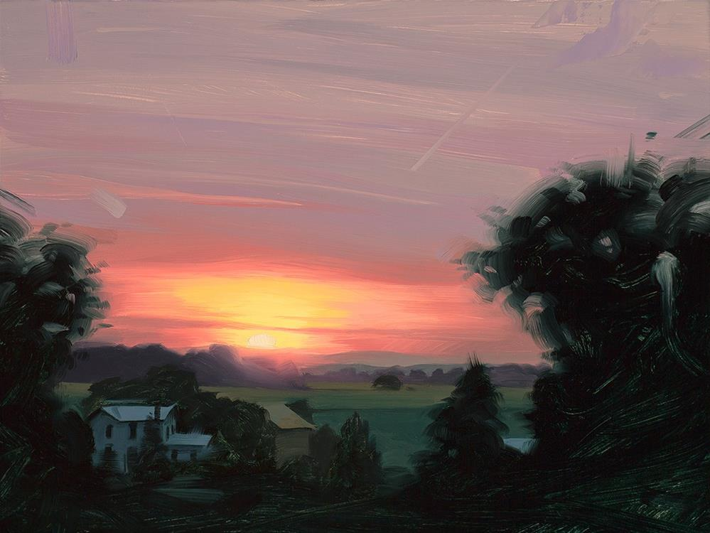 """Sunrise Over the Farm"" original fine art by Rob  Rey"