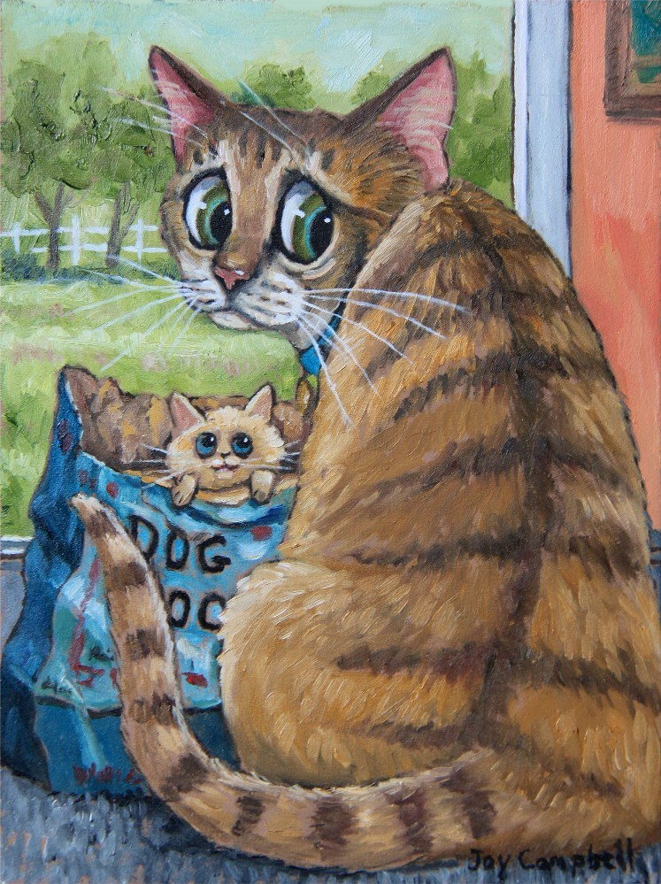 """Dad the Baby Sitter"" original fine art by Joy Campbell"