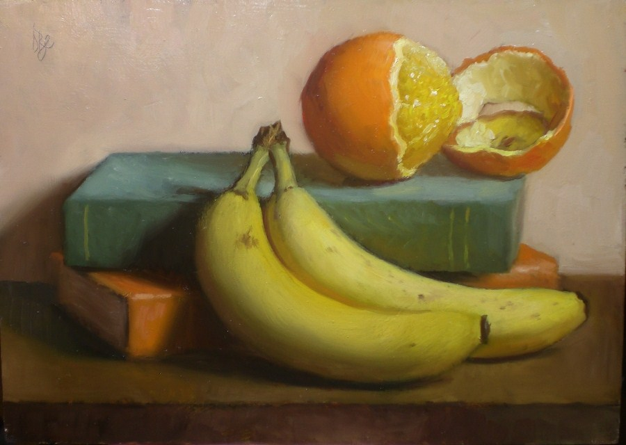 """Bananas, Books and an Orange"" original fine art by Debra Becks Cooper"