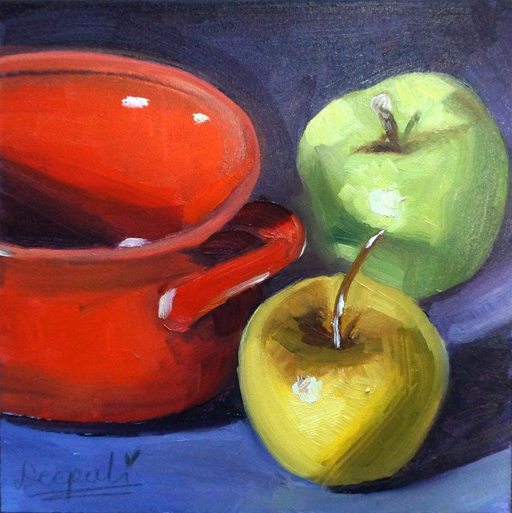 """Apples and bowl"" original fine art by Dipali Rabadiya"