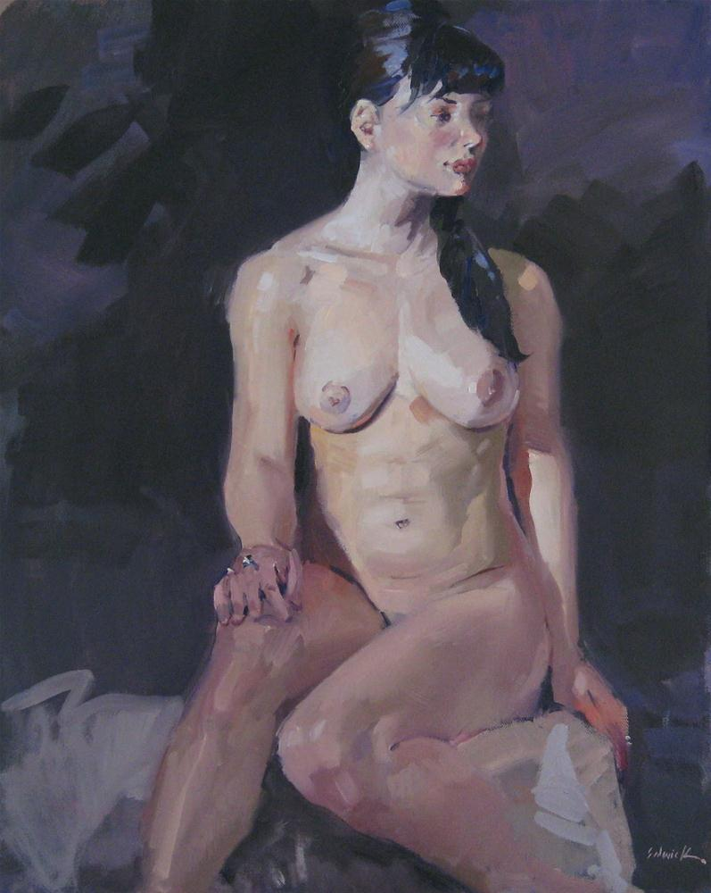 """Nude with Silver Rings female figure painting portrait art oil on canvas"" original fine art by Sarah Sedwick"