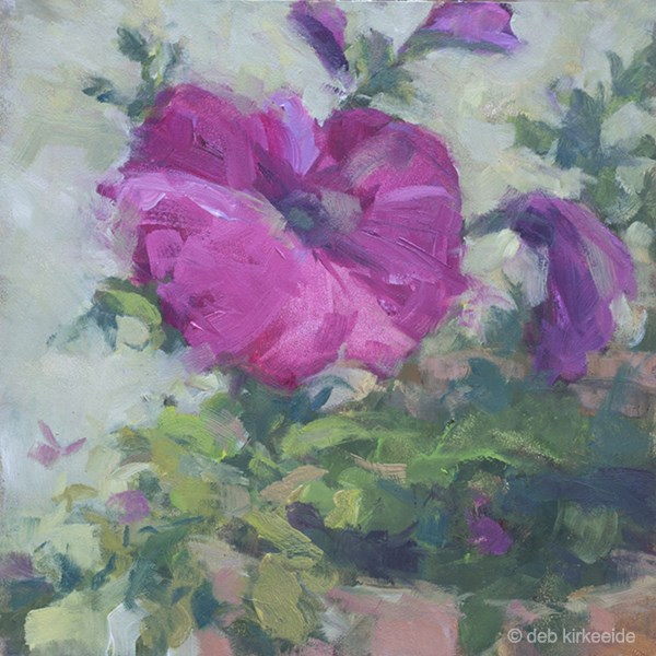 """Pretty Petunia - Original Oil Paintng Deb Kirkeeide"" original fine art by Deb Kirkeeide"