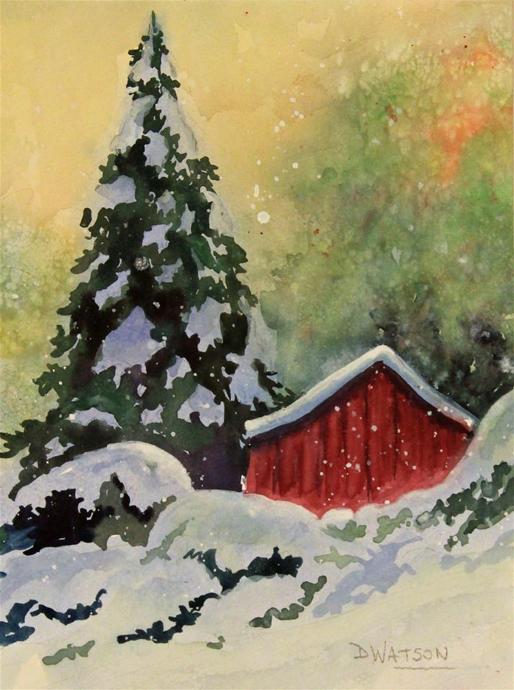 """Whimsical Red Barn"" original fine art by Deb Watson"