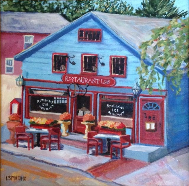 """Bistro de Colore"" original fine art by Linda Marino"