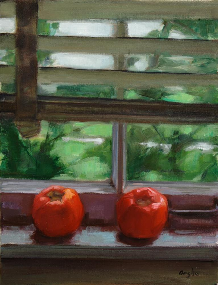 """Tomatoes in Window"" original fine art by Angela Ooghe"
