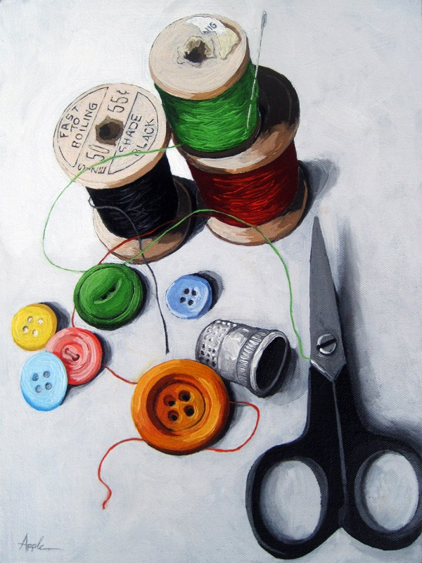 """Sewing Memories 2 realistic still life sewing"" original fine art by Linda Apple"