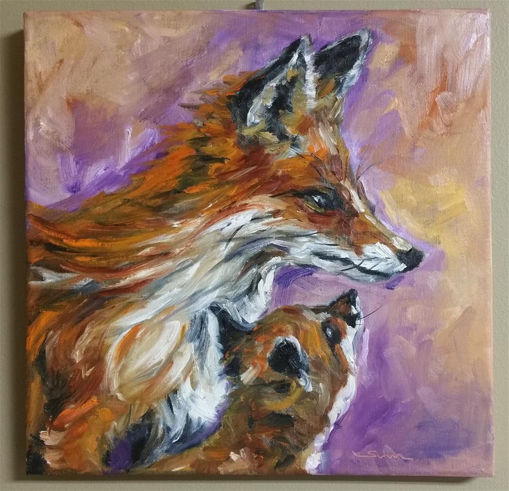"""Mommy Fox and baby Fox"" original fine art by Sun Sohovich"