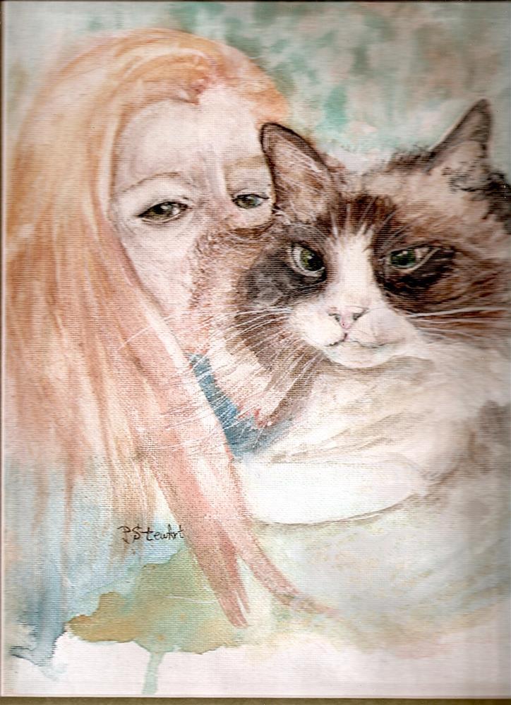 """""""9x12 Lola Rag Doll Kitty Cat and Friend Watercolor by Penny Lee StewArt"""" original fine art by Penny Lee StewArt"""