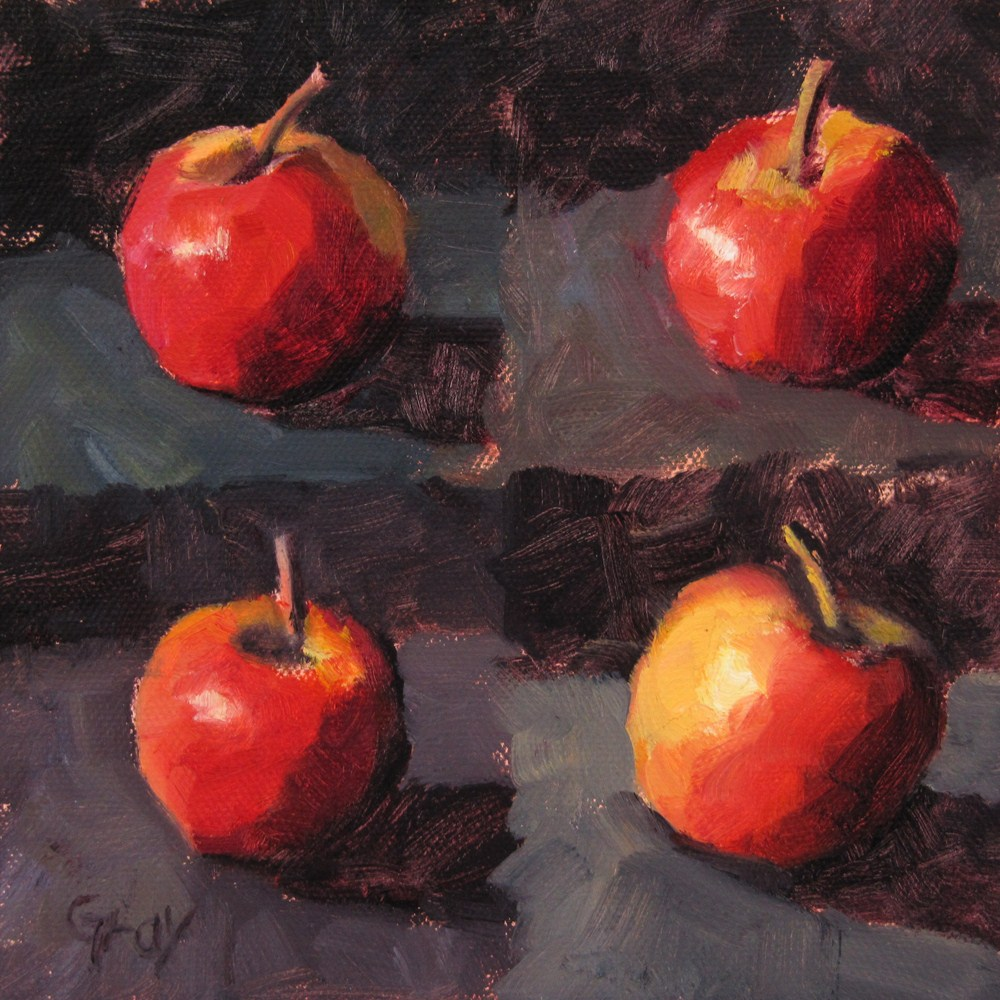 """A Little Apple X 4"" original fine art by Naomi Gray"