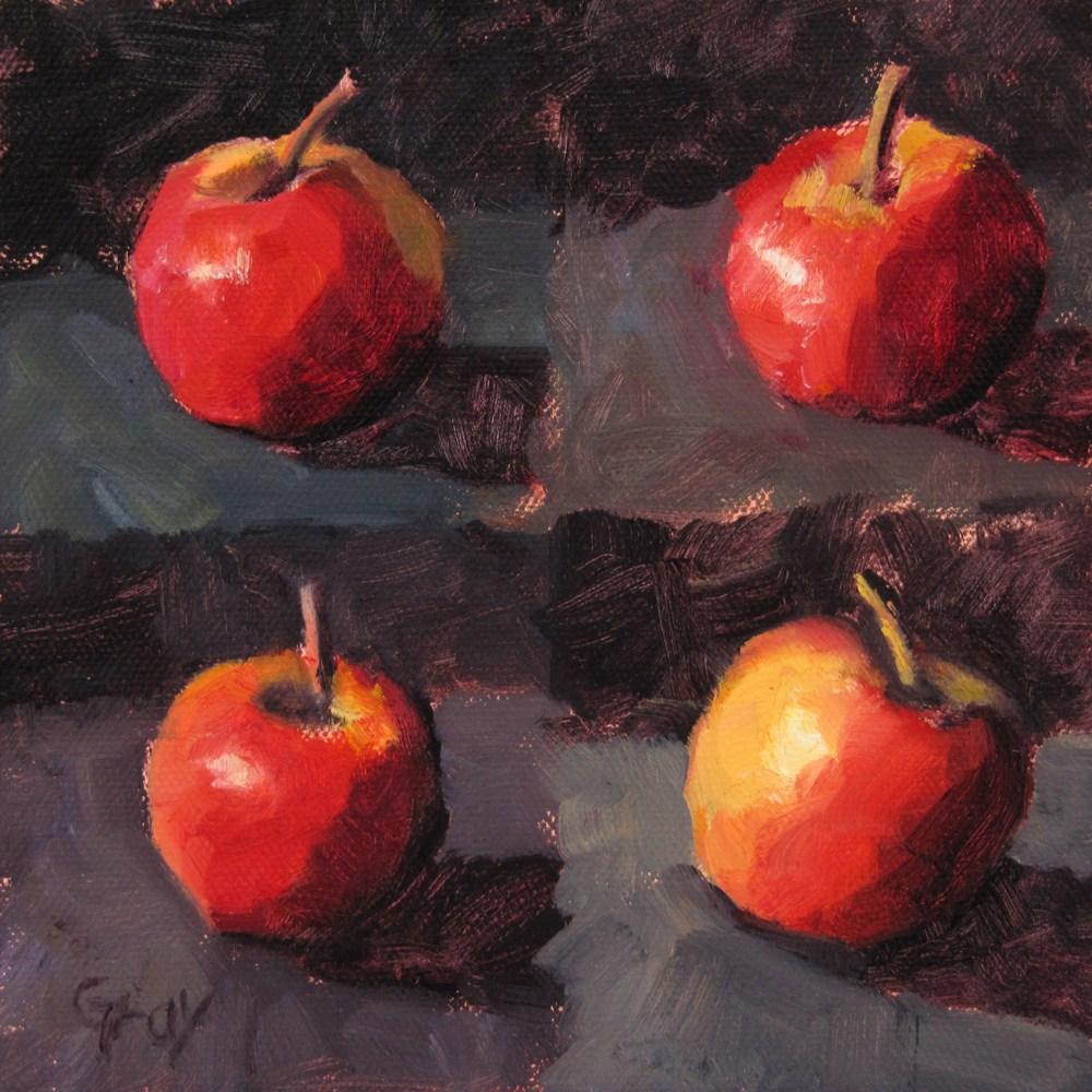 """""""A Little Apple X 4"""" original fine art by Naomi Gray"""
