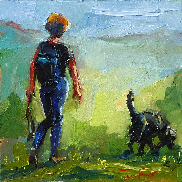 """with the dog"" original fine art by Jurij Frey"
