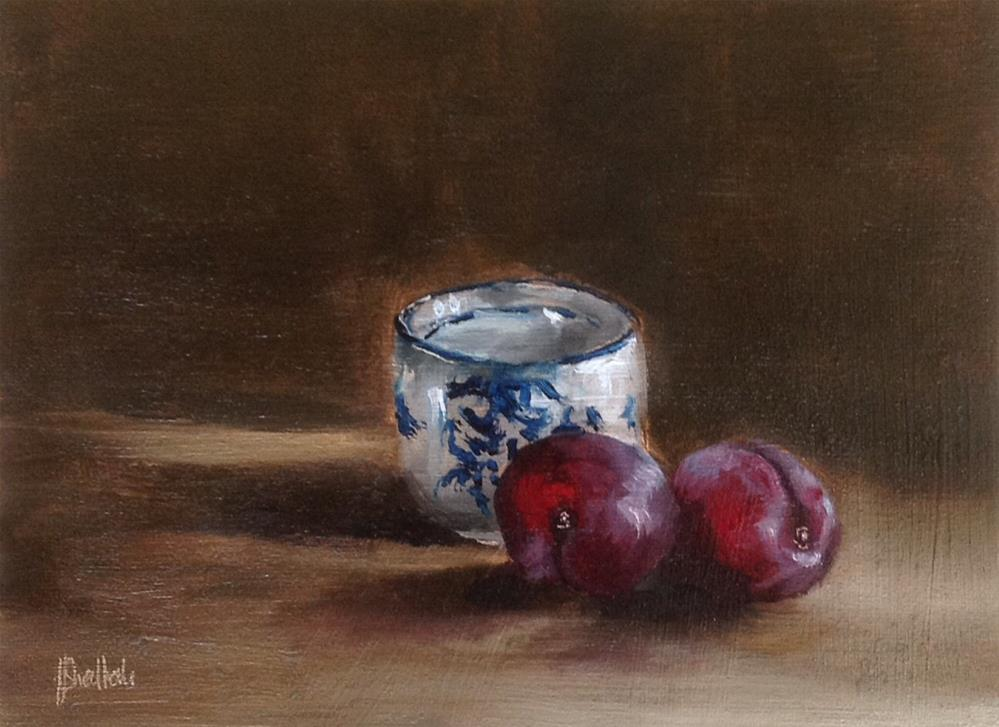 """Chinese teacup and plums #626"" original fine art by Heidi Shedlock"
