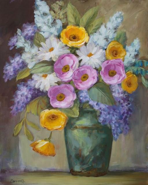 """Bouquet in Celadon Pot"" original fine art by Sue Cervenka"