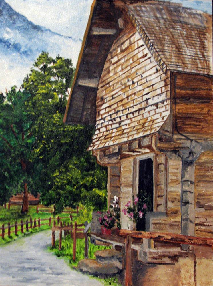 """Swiss Cabin"" original fine art by Nan Johnson"