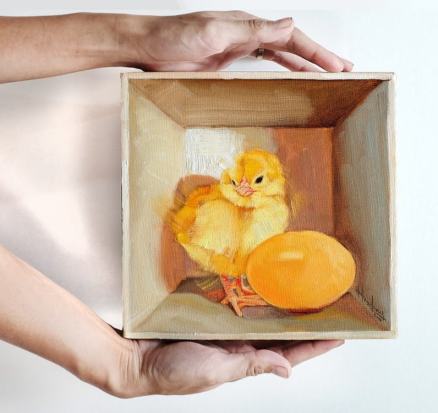 """Chick & Egg in a box"" original fine art by Haze Long"