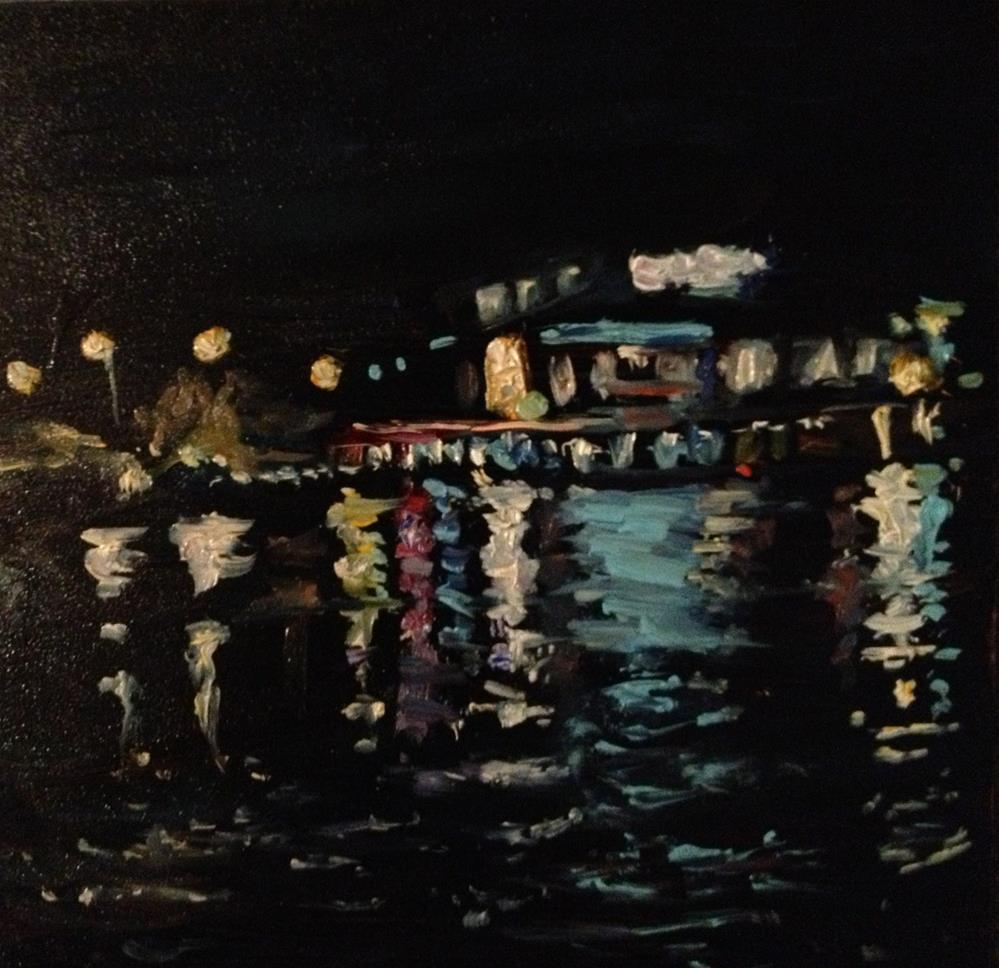 """Lights on the Water"" original fine art by Claudia L Brookes"