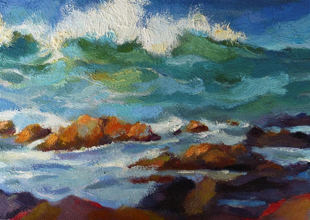 """Surf at Maka'alae, Hana"" original fine art by Katya Minkina"