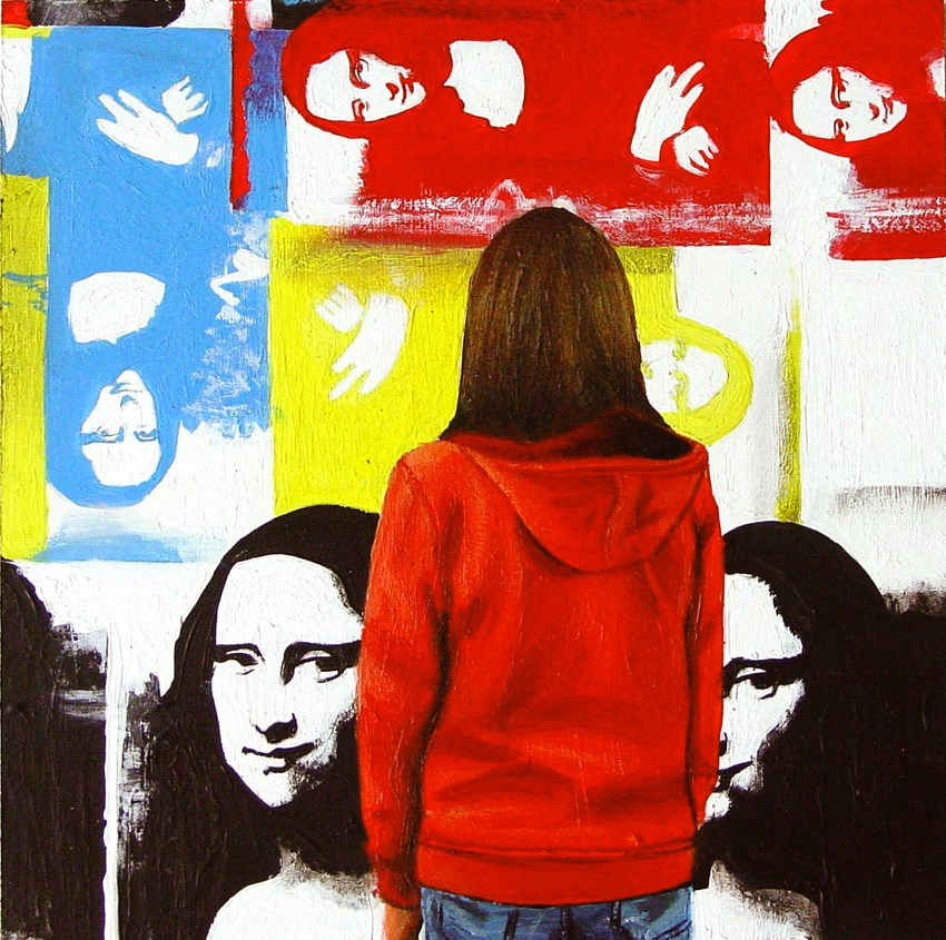 """Mona Lisa- Painting Of Woman Enjoying Painting By Andy Warhol"" original fine art by Gerard Boersma"
