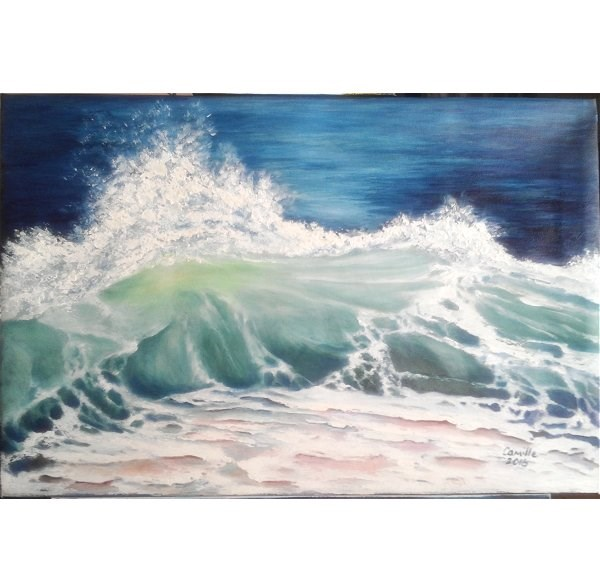 """Wave Crashing on Beach "" original fine art by Camille Morgan"