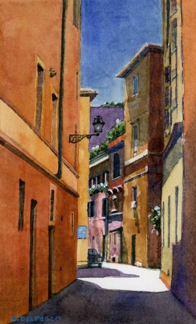 """""""Watercolor: Vicolo Della Palle (& a painting trip to France)"""" original fine art by Belinda Del Pesco"""