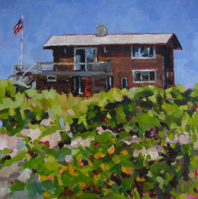 """Nanny's Beach House- Love painting and living near the ocean. This is the house of a friend."" original fine art by Mary Sheehan Winn"