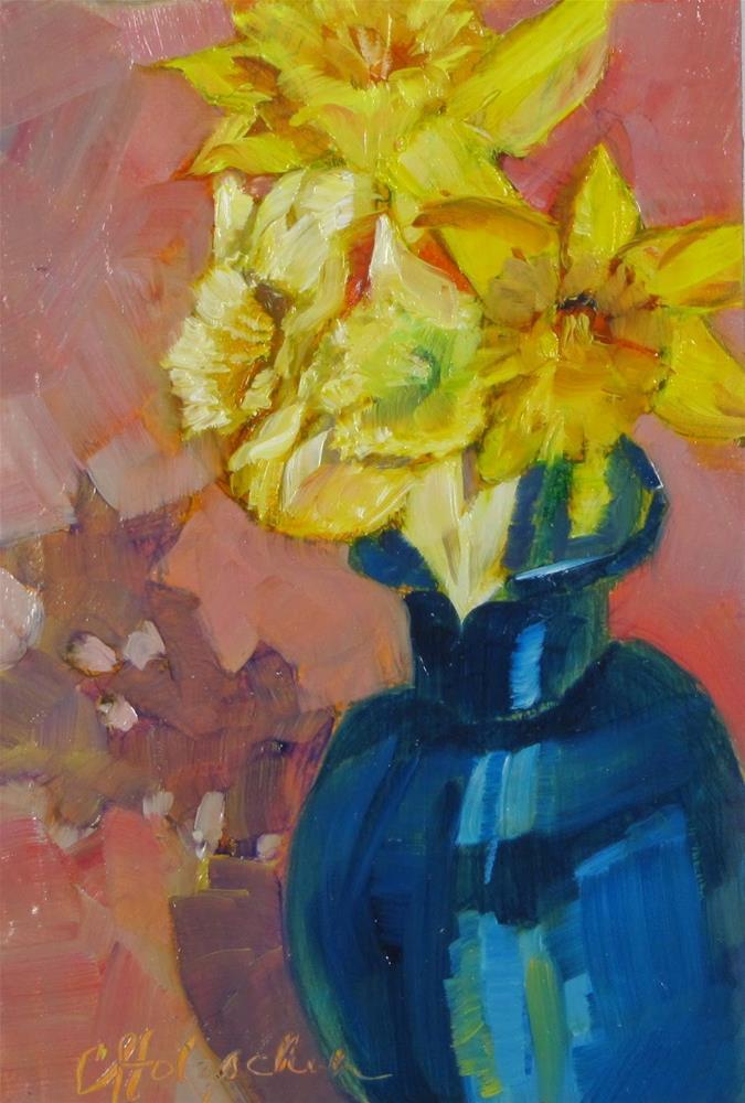 """First Daffodills"" original fine art by Christine Holzschuh"
