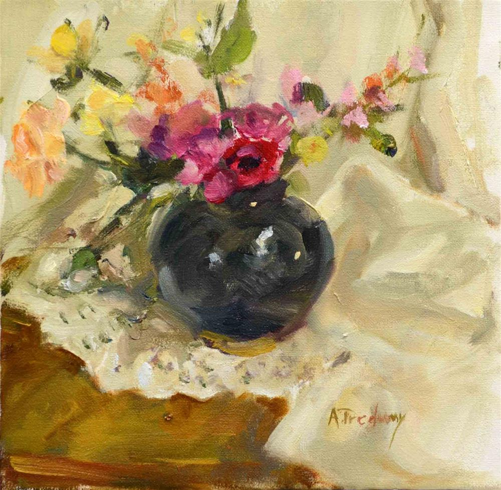 """Floral Black Vase"" original fine art by alicia tredway"