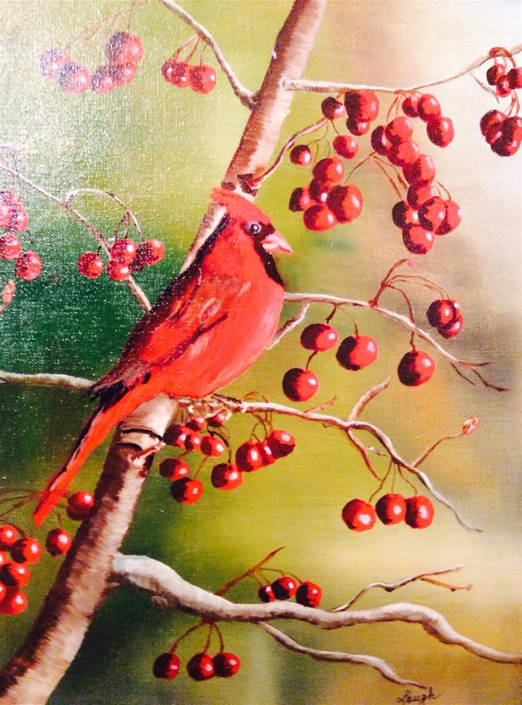 """Cardinal in a Cherry Tree"" original fine art by Charlotte Lough"