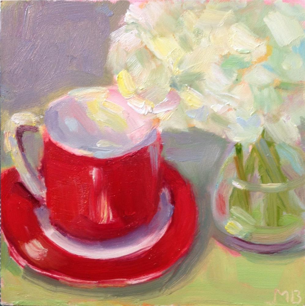 """Red Cup and Hydrangeas"" original fine art by Marcia Bergtholdt"