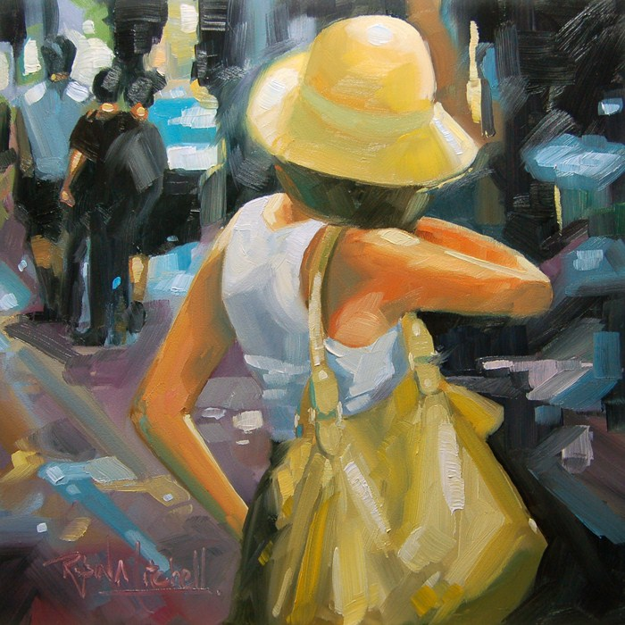 """No 517 Hat and the Bag"" original fine art by Robin J Mitchell"