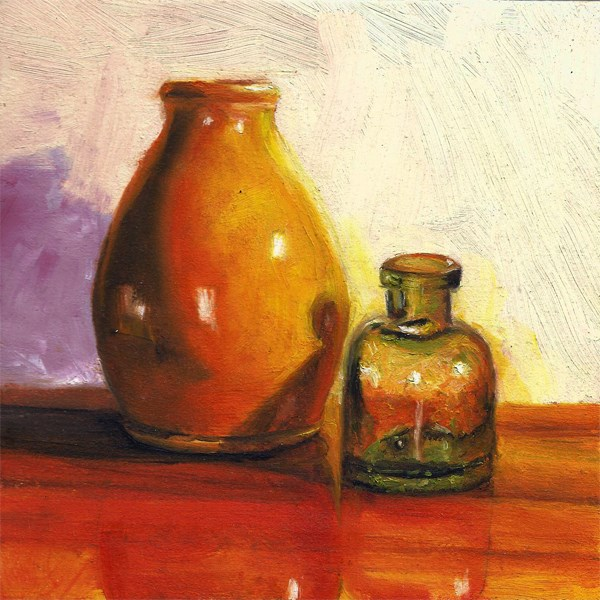 """Antique ink bottle with vase"" original fine art by Peter J Sandford"