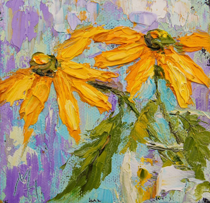 """Yellow Daisies 1"" original fine art by Marion Hedger"