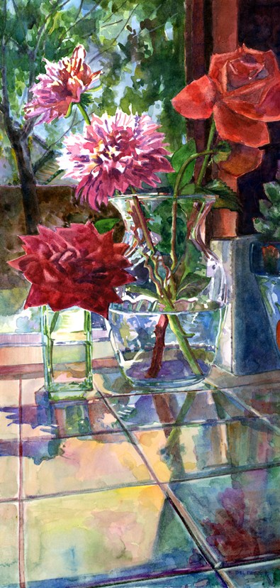 """Watercolor: Roses & Dahlias on the Kitchen Sill"" original fine art by Belinda Del Pesco"
