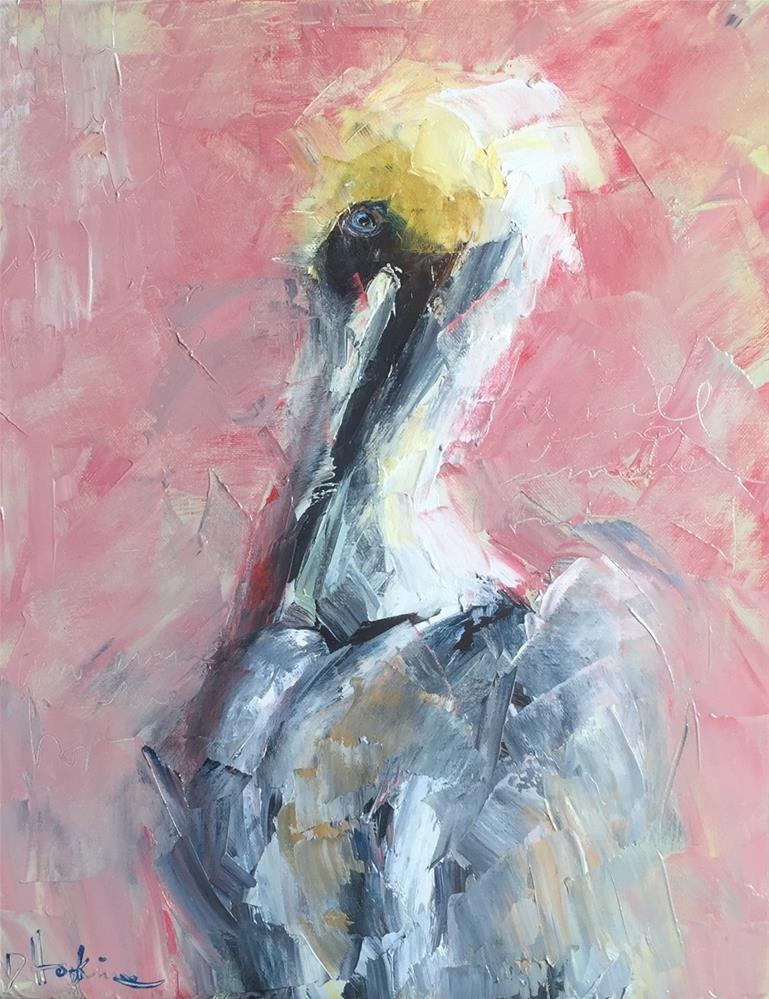 """Pelican in Pink"" original fine art by Denise Hopkins"