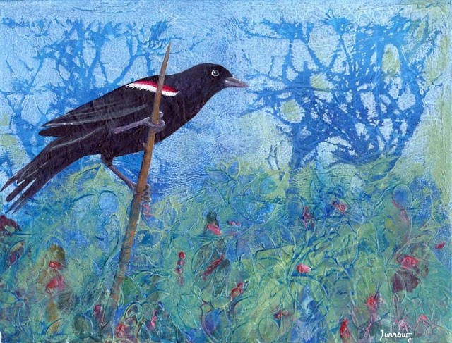 """ORIGINAL PAINTING OF RED WINGED BLACKBIRD"" original fine art by Sue Furrow"