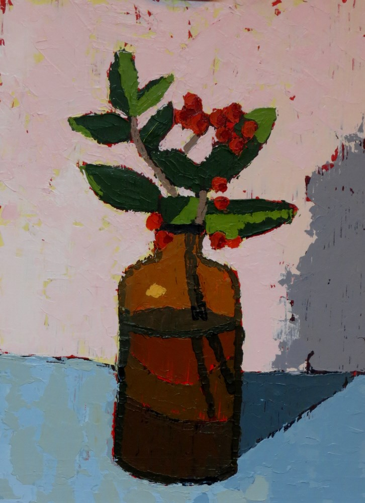 """Pyracantha"" original fine art by Joan Wiberg"
