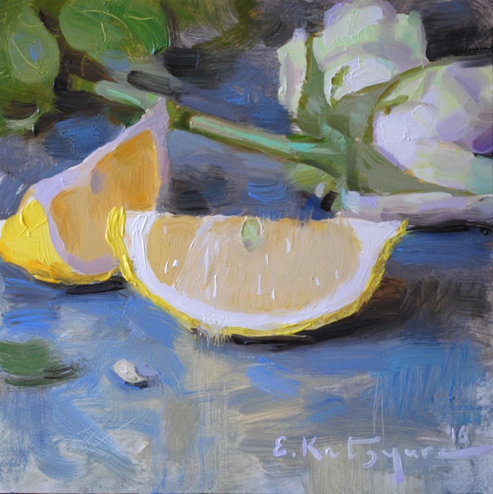 """Lemons and Roses"" original fine art by Elena Katsyura"