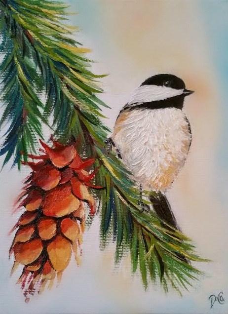"""""""Chick-a-dee & the Pine-cone"""" original fine art by Dana C"""