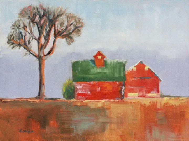 """Landscape oil painting Red Barns in Winter"" original fine art by Carrie Venezia"