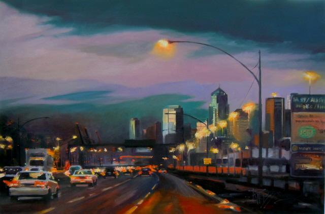 """""""Approaching Seneca Street  Seattle city scenes, urban landscape"""" original fine art by Robin Weiss"""