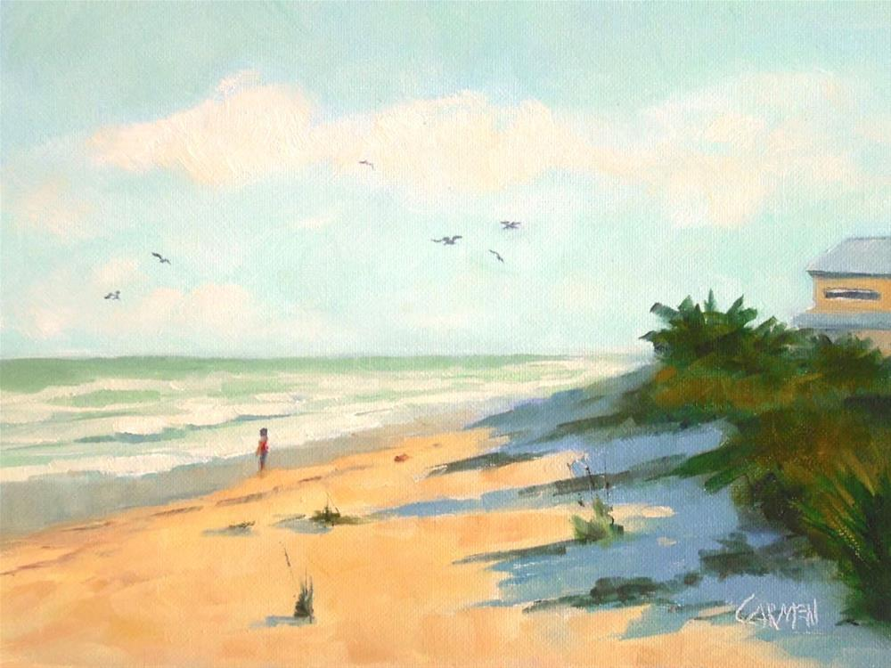 """Dunes, 8x6 Oil on Canvas Panel, Seascape"" original fine art by Carmen Beecher"