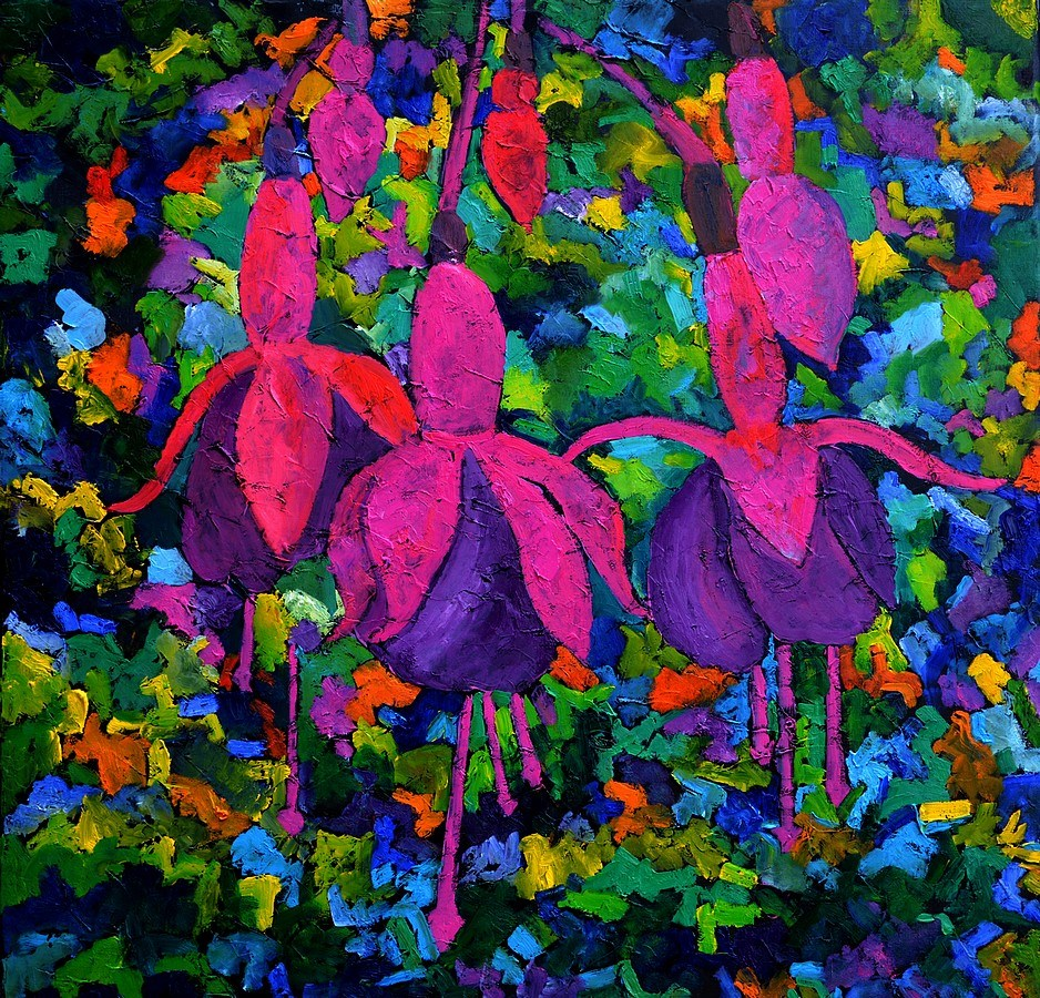 """Fuschia flowers"" original fine art by Pol Ledent"