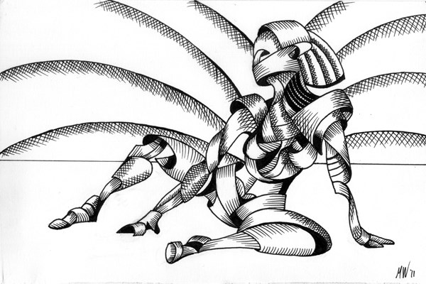 """Mark Webster - Abstract Nude Figurative Pen and Ink Drawing"" original fine art by Mark Webster"