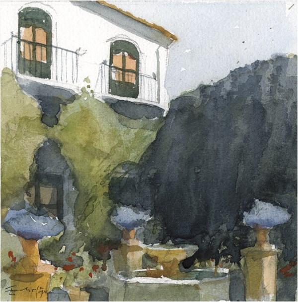 """patio 67"" original fine art by Emilio López"