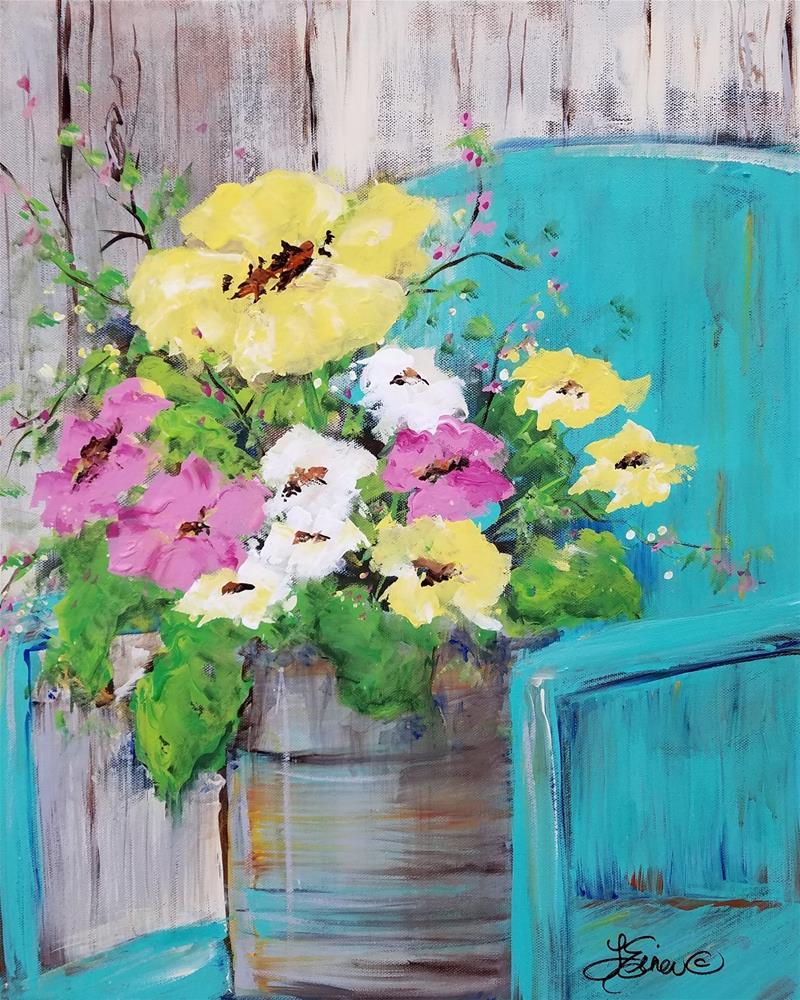 """""""Spring Floral on Vintage Lawnchair"""" original fine art by Terri Einer"""