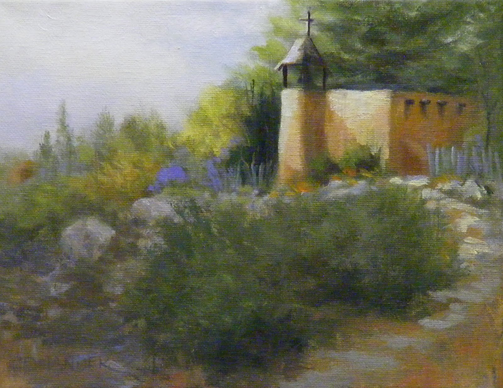 """Adobe Church on the Hill, Landscape"" original fine art by Diana Delander"