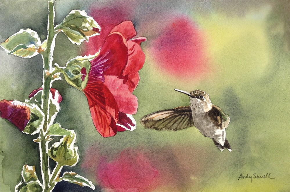 """Little Hummer"" original fine art by Andy Sewell"